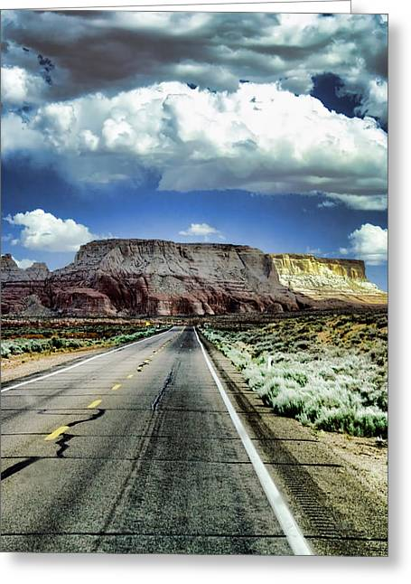 Long Street Greeting Cards - The Long and Lonely Road Greeting Card by Ellen Heaverlo