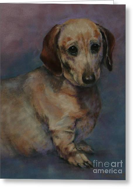 Puppies Pastels Greeting Cards - The Long and the Short of It Greeting Card by Pamela Pretty