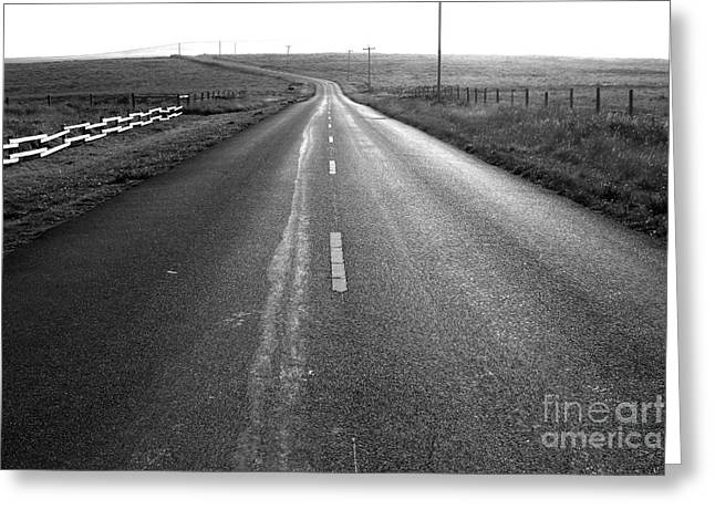 The Long Road Home . 7D9903 . Black and White Greeting Card by Wingsdomain Art and Photography
