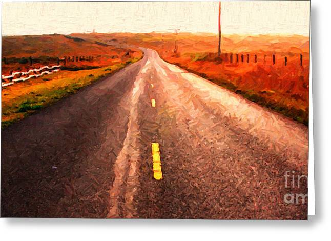 The Long Road Home . Painterly Style . Wide Size Greeting Card by Wingsdomain Art and Photography