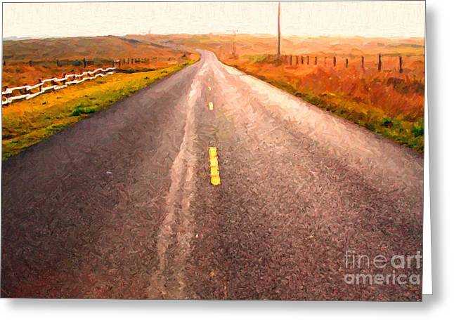 Philosophical Greeting Cards - The Long Road Home . Painterly Style Greeting Card by Wingsdomain Art and Photography