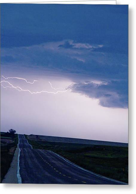 Storm Prints Greeting Cards - The Long Road Into the Storm Greeting Card by James BO  Insogna