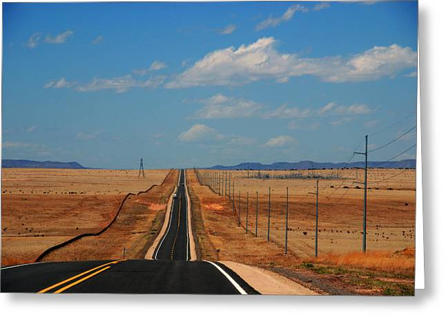 Long Street Greeting Cards - The long road to Santa Fe Greeting Card by Susanne Van Hulst