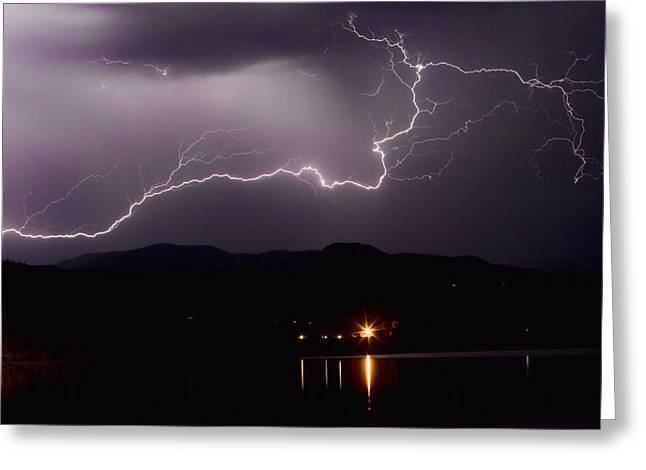 Lightning Photography Photographs Greeting Cards - The Long Strike Greeting Card by James BO  Insogna