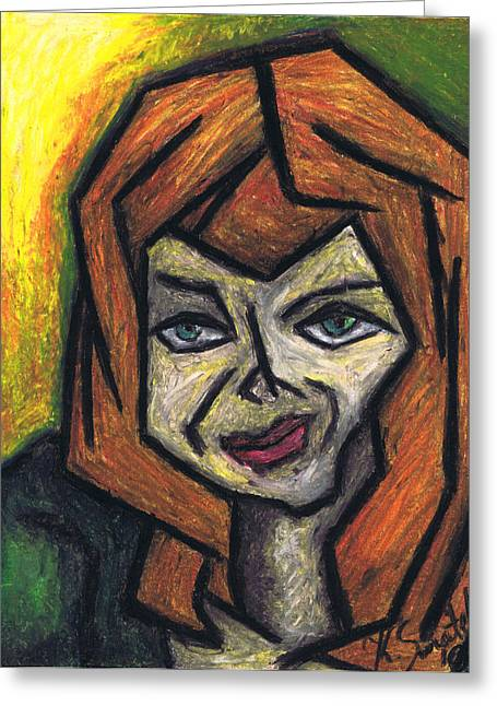 Cubism Prints Greeting Cards - The Look Greeting Card by Kamil Swiatek