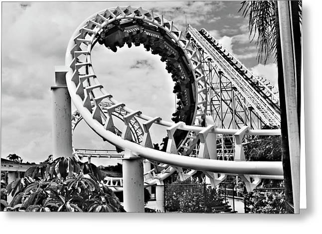 The Loop Black and White Greeting Card by Douglas Barnard