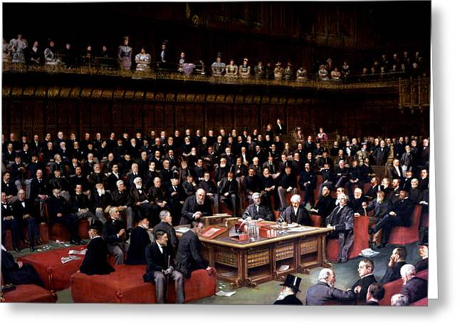 Self-government Greeting Cards - The Lord Chancellor About to Put the Question in the Debate about Home Rule in the House of Lords Greeting Card by English School