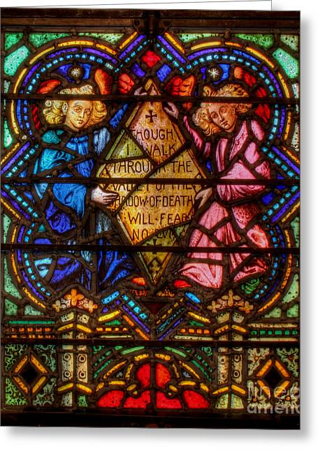 Psalm Of David Greeting Cards - The Lord is my shepherd Psalm of David Stained Glass Greeting Card by Lee Dos Santos
