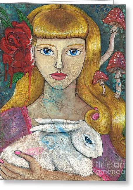 Toadstools Mixed Media Greeting Cards - The Lost Alice Portrait Greeting Card by Cameron Reutzel