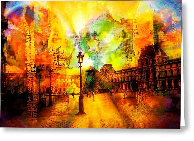 The Louvre Greeting Card by Carrie OBrien Sibley