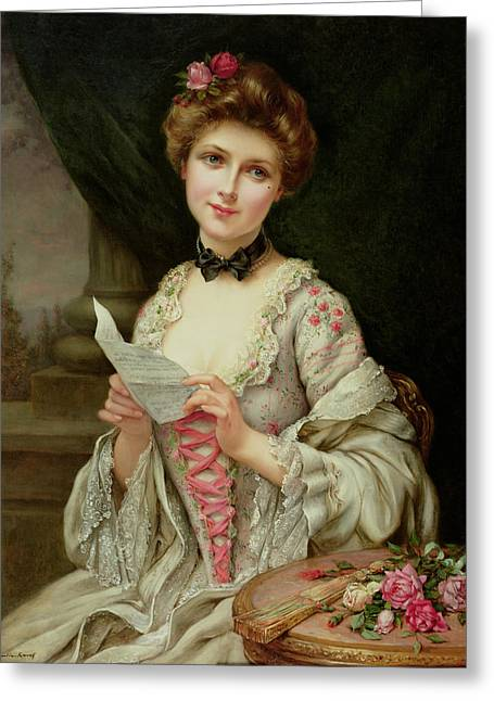 Francois Greeting Cards - The Love Letter Greeting Card by Francois Martin-Kayel