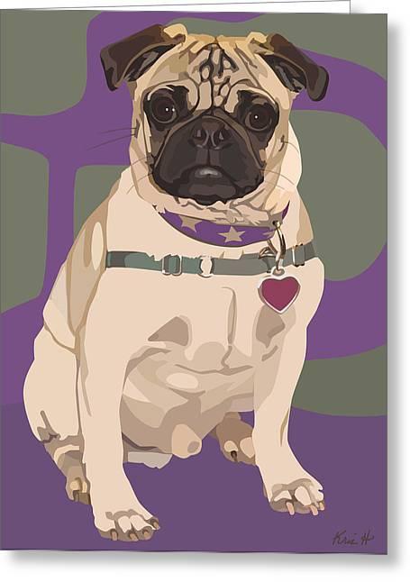 Collar Digital Art Greeting Cards - The Love Pug Greeting Card by Kris Hackleman