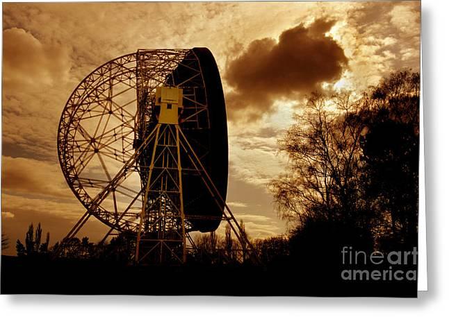 Transmitter Greeting Cards - The Lovell Telescope At Jodrell Bank Greeting Card by Mark Stevenson