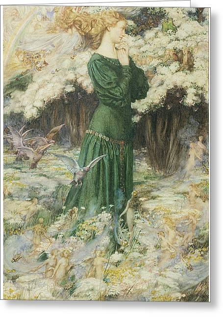 Fantasy World Paintings Greeting Cards - The Lovers World Greeting Card by Eleanor Fortescue-Brickdale