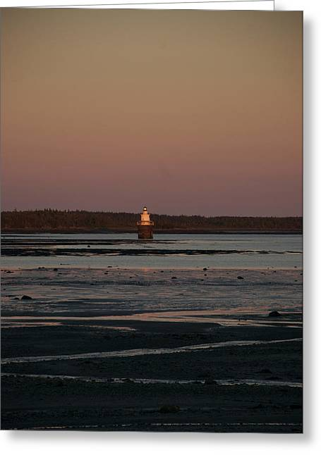 Lubec Greeting Cards - The Lubec Channel Light House Marks Greeting Card by Heather Perry