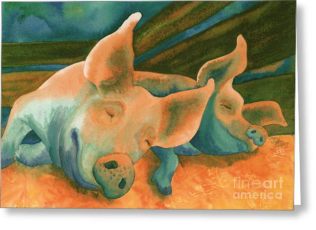 Happy Hog Greeting Cards - The Lucky Ones Greeting Card by Tracy L Teeter