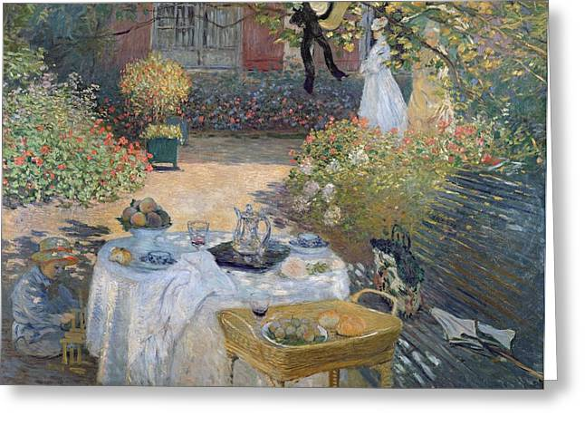 Eating Greeting Cards - The Luncheon Greeting Card by Claude Monet