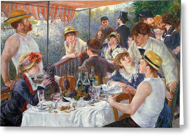 Eating Greeting Cards - The Luncheon of the Boating Party Greeting Card by Pierre Auguste Renoir