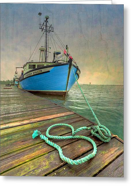 Wooden Ship Greeting Cards - The Lurcher Digger Greeting Card by Debra and Dave Vanderlaan