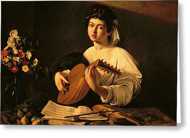 Male Singer Greeting Cards - The Lute Player Greeting Card by Michelangelo Merisi da Caravaggio