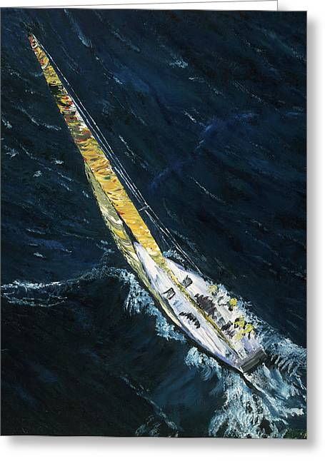 Gregory Allen Page Greeting Cards - The Mac. Chicago to Mackinac Sailboat Race. Greeting Card by Gregory Allen Page