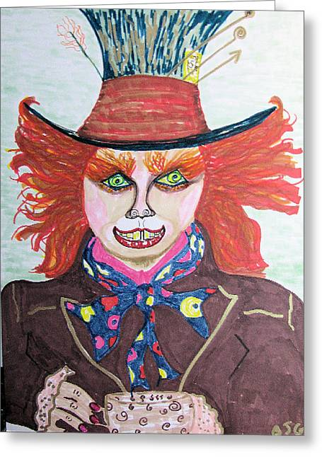 Mad Hatter Greeting Cards - The Mad Hatter Greeting Card by Barbara Giordano