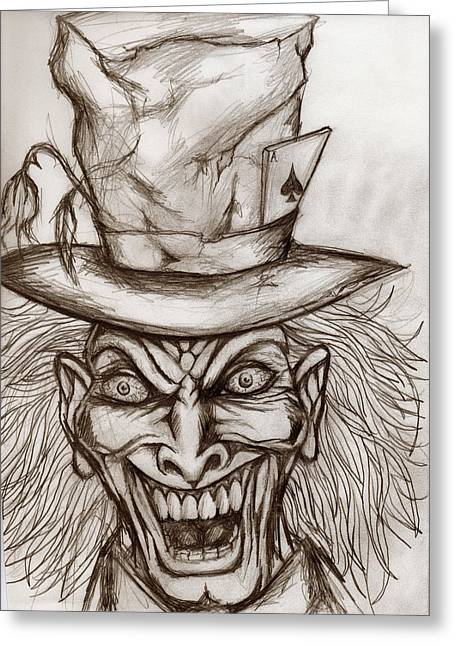 Mad Hatter Mixed Media Greeting Cards - The Mad Hatter Greeting Card by Michael Mestas