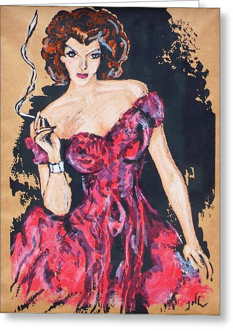 Pin Up Pastels Greeting Cards - The Madame Greeting Card by JW DeBrock