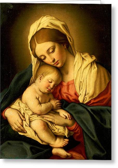 Mom Paintings Greeting Cards - The Madonna and Child Greeting Card by Il Sassoferrato