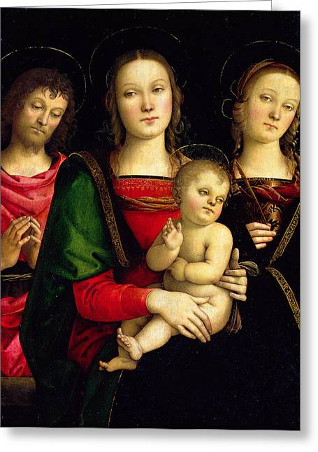 Christ Child Greeting Cards - The Madonna and Child with St. John the Baptist and St. Catherine of Alexandria  Greeting Card by Pietro Perugino