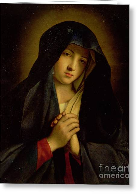 Praying Hands Paintings Greeting Cards - The Madonna in Sorrow Greeting Card by Il Sassoferrato