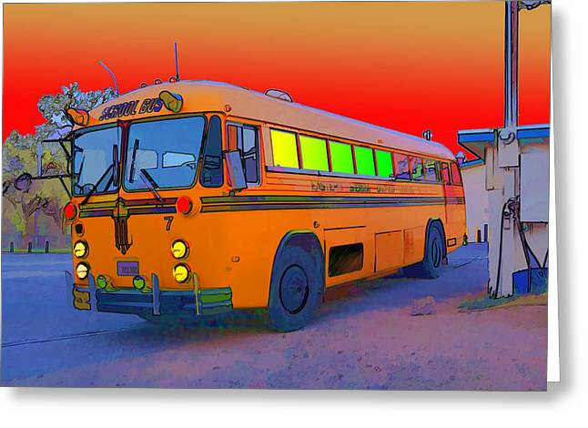 Magic Bus Greeting Cards - The Magic Bus Greeting Card by Gregory Scott