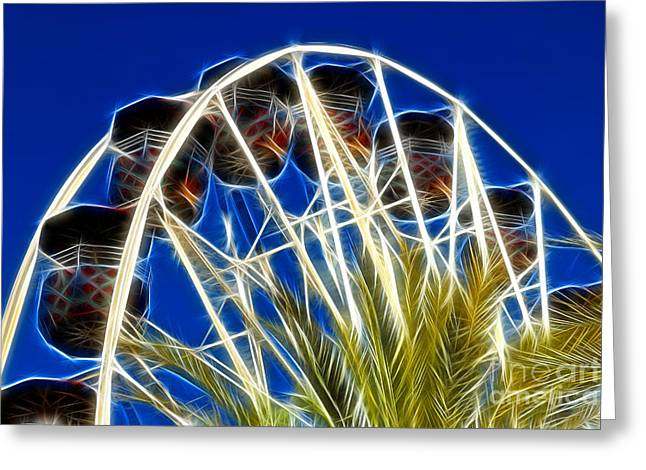 Reflecting Light. Fractalius Greeting Cards - The Magic Ferris Wheel Ride Greeting Card by Mariola Bitner