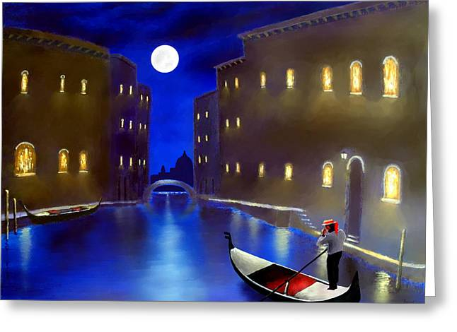 Larry Cirigliano Greeting Cards - The magic nights of venice lights  Greeting Card by Larry Cirigliano