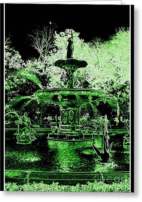 Fountain Digital Art Greeting Cards - The Magic of Savannah Greeting Card by Carol Groenen