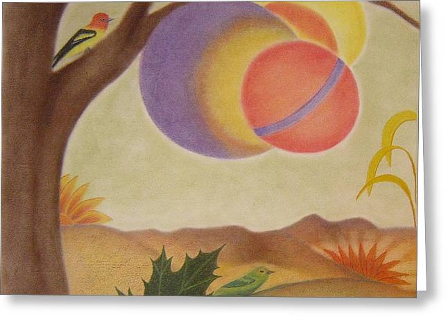 Spheres Pastels Greeting Cards - The Magic Tree Greeting Card by Margrit Schlatter