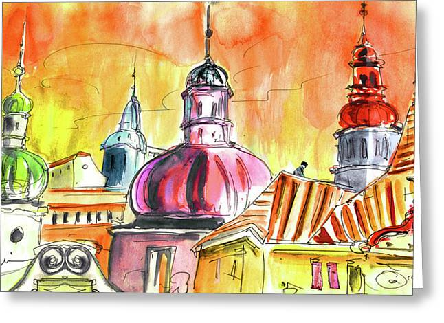 The Magical Roofs Of Prague 01 Bis Greeting Card by Miki De Goodaboom