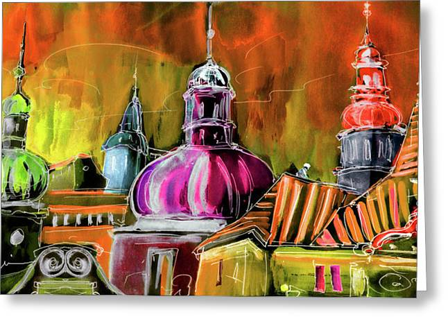 Townscape Digital Art Greeting Cards - The Magical Rooftops of Prague 01 Greeting Card by Miki De Goodaboom