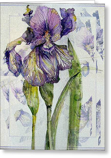 Iris Digital Art Greeting Cards - The Magnificient Iris Greeting Card by Mindy Newman