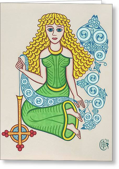 Celtic Knotwork Greeting Cards - The Maiden Greeting Card by Ian Herriott