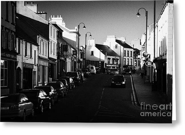 Ballycastle Greeting Cards - the main through road in Ballycastle Ann Street county antrim northern ireland Greeting Card by Joe Fox