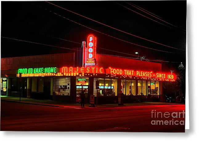 Photographers Decatur Greeting Cards - The Majestic Diner Greeting Card by Corky Willis Atlanta Photography