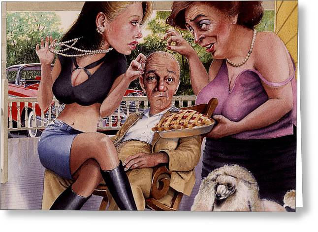Fabled Greeting Cards - The Man and his Sweethearts Greeting Card by Denny Bond