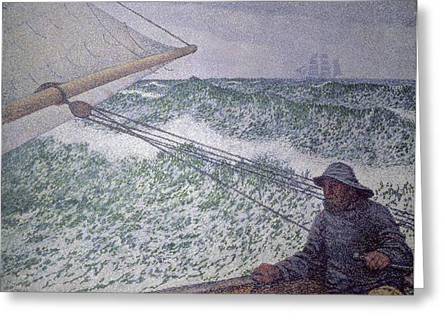 Moby Dick Greeting Cards - The Man at the Tiller Greeting Card by Theo van Rysselberghe