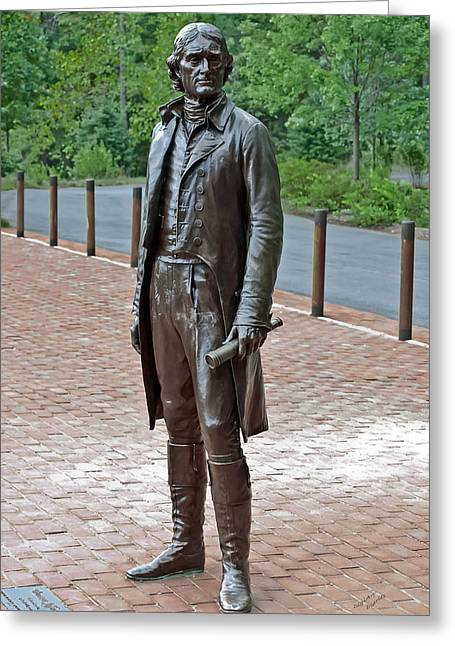 Monticello Greeting Cards - The Man Behind Monticello Greeting Card by DigiArt Diaries by Vicky B Fuller