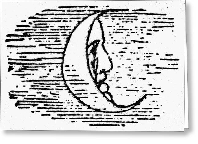 Man-in-the-moon Greeting Cards - The Man In The Moon Greeting Card by Granger