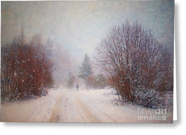 The Man in the Snowstorm Greeting Card by Tara Turner