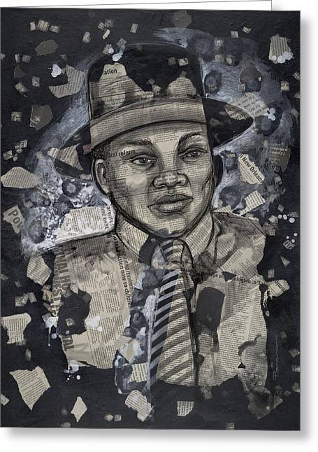 Civil Rights Paintings Greeting Cards - The Man Greeting Card by Larry Poncho Brown