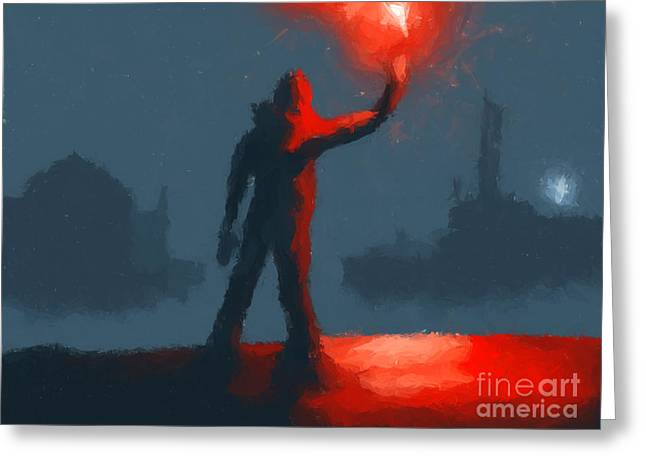 Scifi Digital Art Greeting Cards - The man with the flare Greeting Card by Pixel  Chimp
