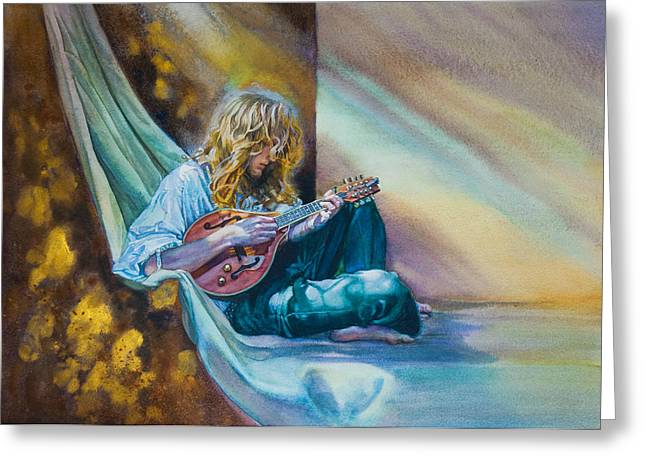THE MANDOLIN PLAYER Greeting Card by Gilly  Marklew